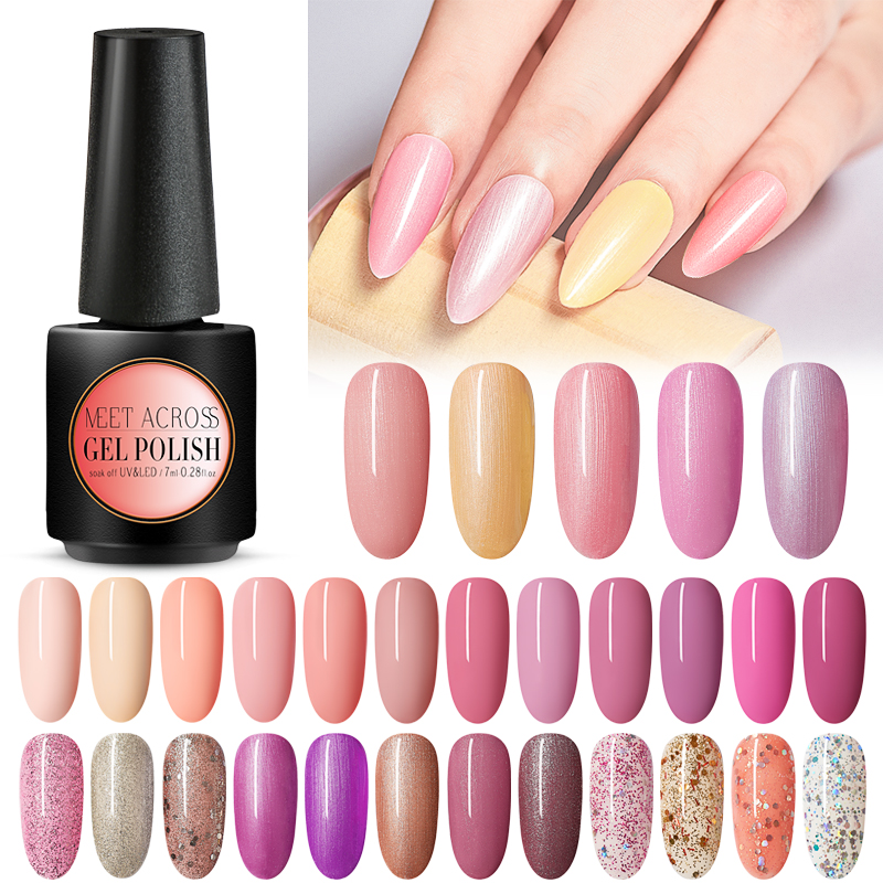 MEET ACROSS Nude Gel Polish 7ml UV Gel Varnish Nail Polish Semi Permanent Hybrid Nails Art Off Prime White Gel Nail Polish