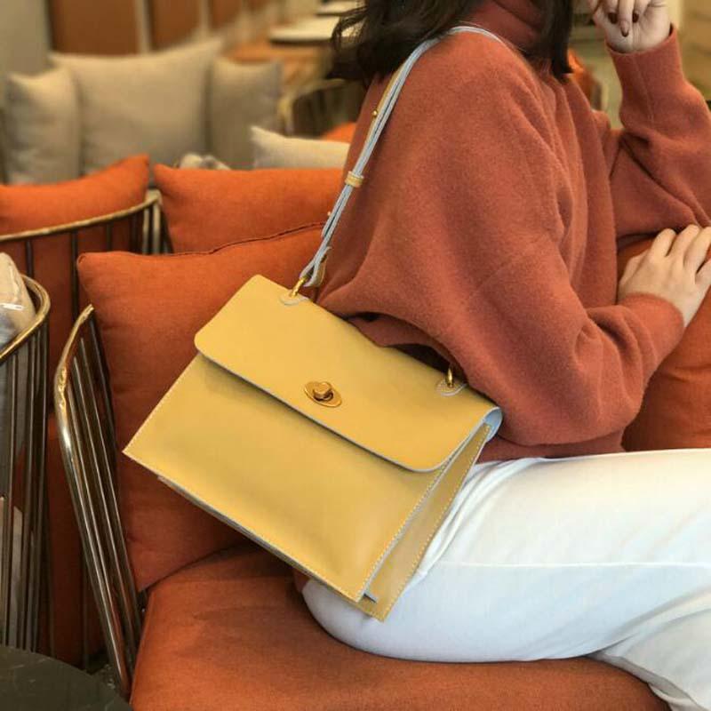 Fashion Shoulder Bag Luxury Split Leather Handbags Korean Designer Version Wild Girls Small Square Messenger Bag Bolsa Feminina