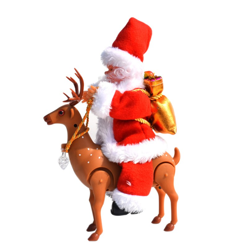 Christmas Festival Style Toy cute Santa Claus with elk Plastic Cloth Material Moving Voice Funny Safety Decoration Toys