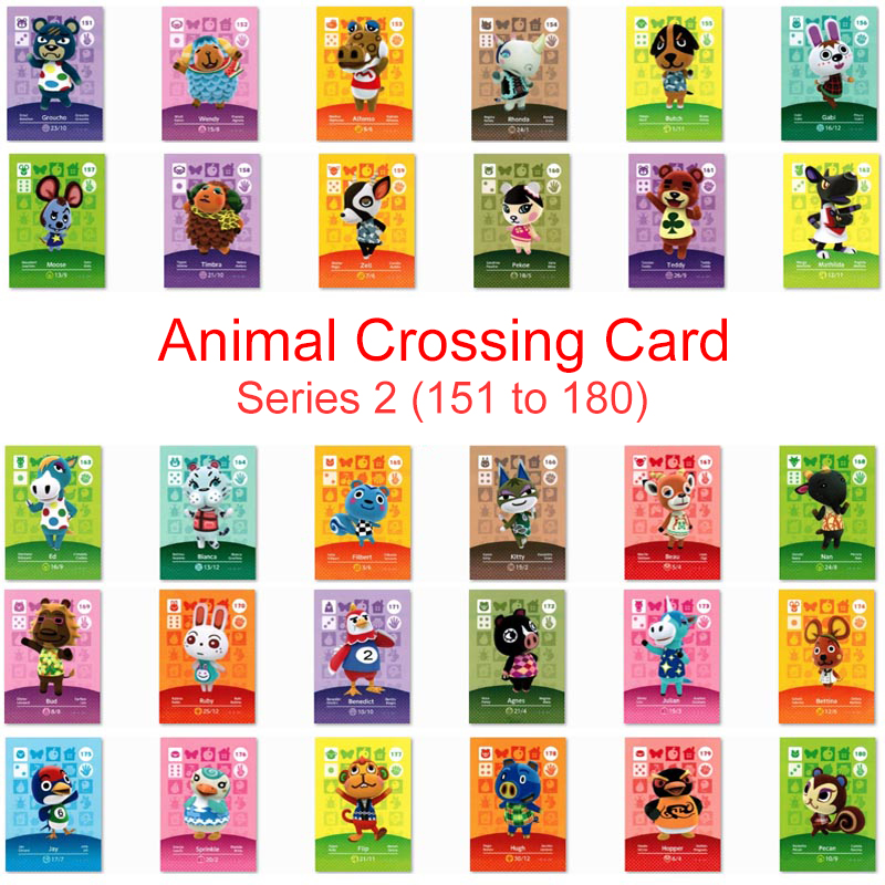 Series 2 (151 To 180) Animal Crossing Card Amiibo Card Work For NS 3DS Game New Horizons Pekoe Bianca Beau Ruby Julian Sprinkle