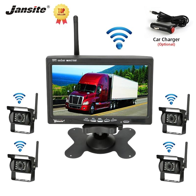 Jansite 7 дюймов Turck камера заднего вида Автомобильная камера резервного копирования беспроводной автомобильный монитор парковочная система з...