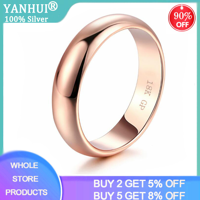 YANHUI Classic Simple 18K Gold Color Couple Rings Women Men Wedding Rings For Lover's Christmas Gift Jewelry Engagement Ring R05