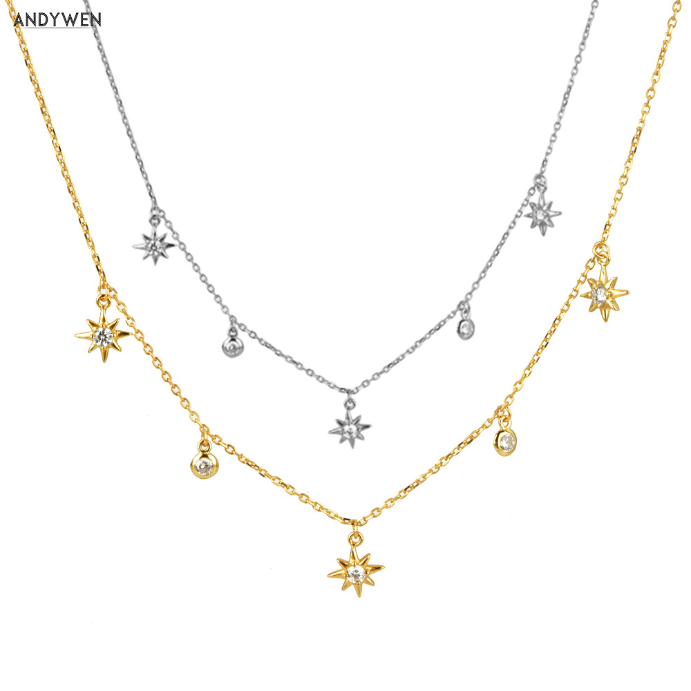 ANDYWEN 925 Sterling Silver Gold Zircon CZ Chain Flower Star Chains Choker Necklace 2020 Luxury Mini Charm Crystal Jewelry