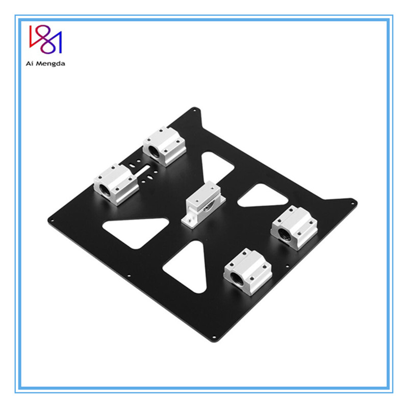 Aluminum Y Carriage Anodized Plate With SC8UU Bearings And Belt Holder Prusa I3 V2 Hot Bed Support Plate For Prusa I3 RepRap