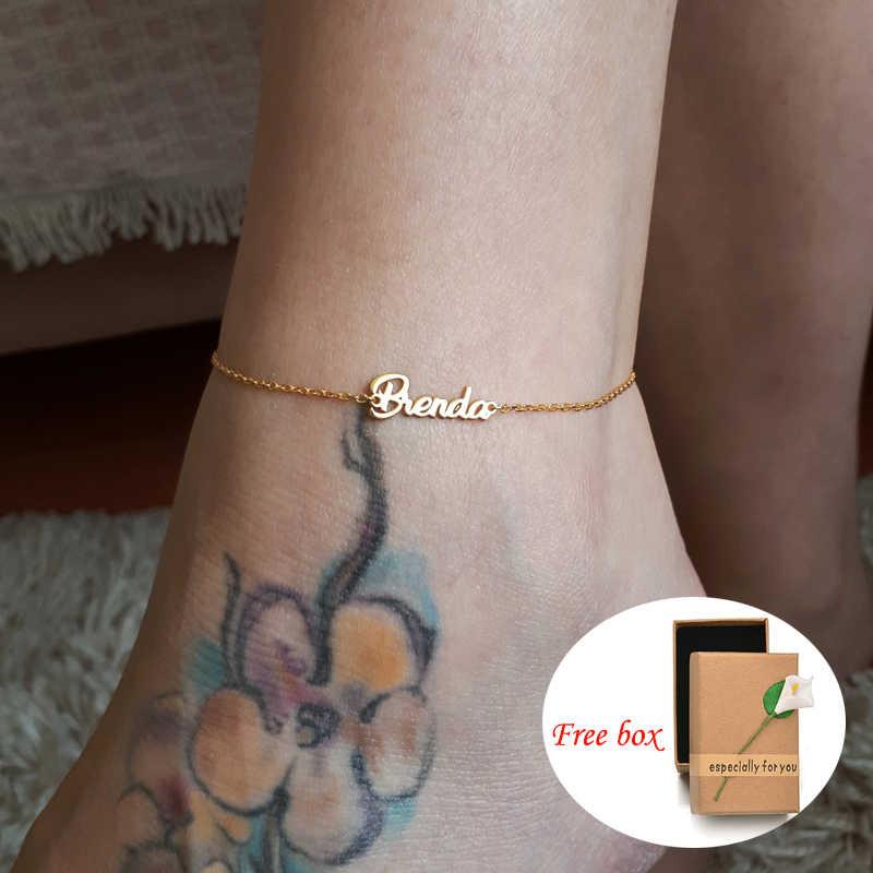 Spersonalizowana nazwa własna ze stali nierdzewnej data Anklet kobiety oświadczenie nazwa pisma kostki biżuteria plażowa