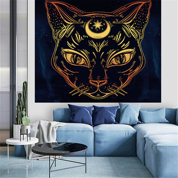 Hippie Tarot Cat Tapestry Wall Hanging Witchcraft Hebrew Ayin Astrology Psychedelic Moon Goat Boho Decor Home Divination Blanket