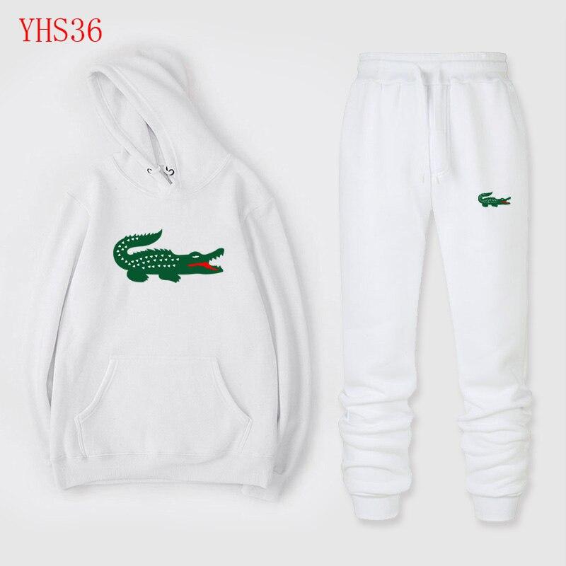 2019 New Sportswear Fashion Casual Crocodile Sweatshirt Sportswear Two-piece Full Wool Heavy Hoodie + Sweatpants Men And Women