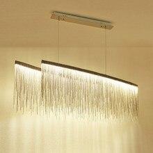 Modern Aluminium Chain Dinning Room Pendant Lighting Tassel Drop Lamp Creative Restaurant Lobby Light Villa chrome/gold