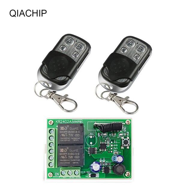 QACHIP 433 MHz DC6V 12V 24V 2CH รีเลย์ตัวรับสัญญาณ + Universal รีโมทคอนโทรลไร้สายสำหรับหลอดไฟ LED รถประตูไฟฟ้า