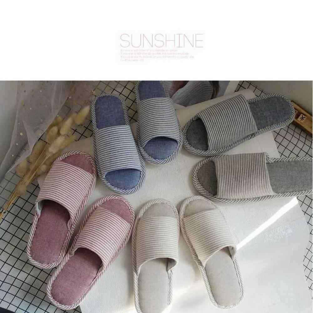 Frauen Japanische Streifen Stil Baumwolle Leinen Hausschuhe
