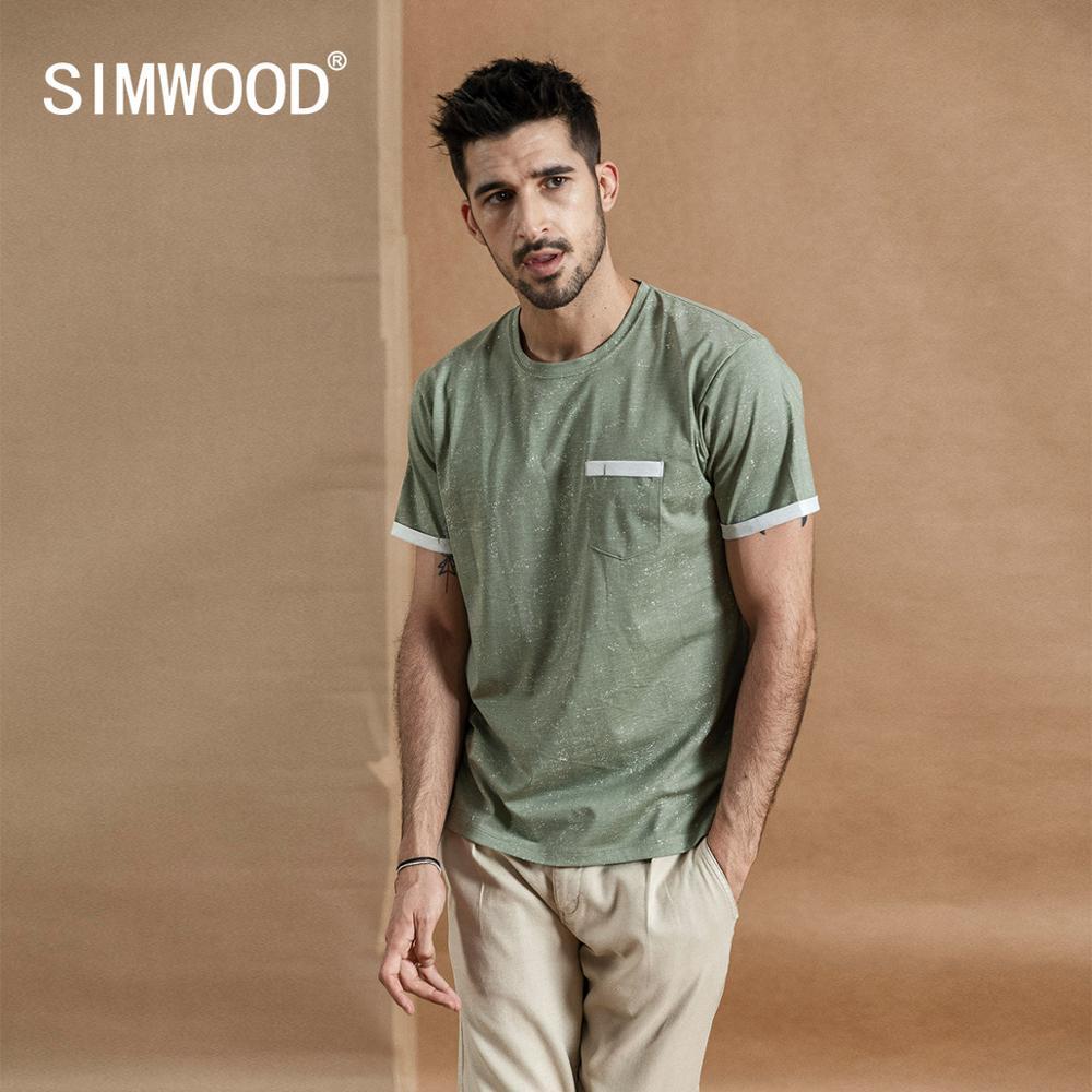 Image 2 - SIMWOOD 2019 summer new Layered chest pocket t shirt men Melange vintage short sleeve fashion tshirt 100% cotton tops 190431-in T-Shirts from Men's Clothing