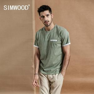 Image 2 - SIMWOOD Camiseta de verano con bolsillo en el pecho para hombre, camiseta de manga corta vintage Melange, camisetas de algodón 2020, novedad de verano de 100%
