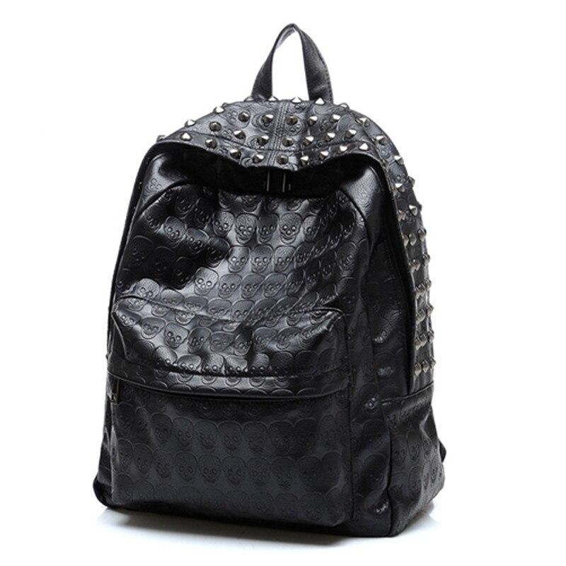 Women Big Good Leather Backpack Rivet Daily Skull Black Backpack For Teenager Girls Schoolbag Casual Travel Rucksack