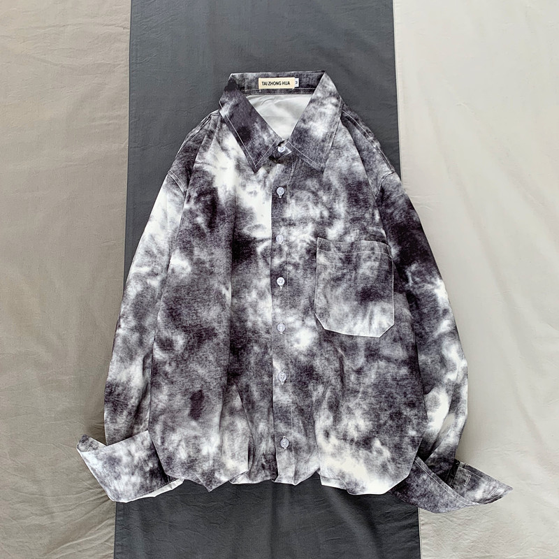 Camo Shirt Men Fashion Tie-dye Printing Casual Dress Shirt Men Streetwear Wild Loose Long-sleeved Shirts Mens M-2XL