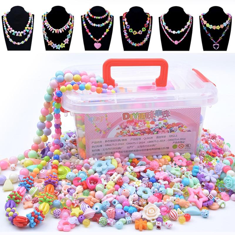 1000Pcs DIY Beads Toys Children With Storage Box Handmade Educational Creative Bracelet Jewelry Girl Jewelry Making Toys Gift