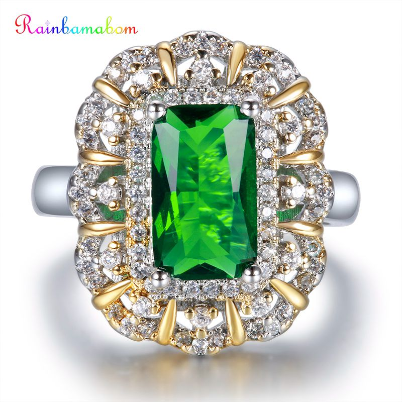 Rainbamabom Luxury 925 Solid Sterling Silver Emerald Gemstone Wedding Engagement Party White Gold Ring Fine Jewelry Wholesale
