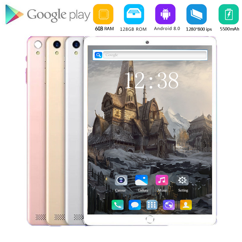 2020 New 10 Inch Tablet PC Octa Core Android 8.0 WiFi Dual SIM Cards 4G LTE Tablets 10.1 8GB RAM 128GB ROM+Youtube/Games Support