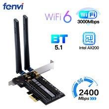 Dual band 2.4Gbps Senza Fili WiFi 6 Adattatore AX200 Bluetooth 5.1 802.11ax Desktop di PCI E scheda wifi Per AX200NGW di Rete Wlan carta