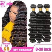 Горячий волна 30 32 34 36 38 дюйм бразильский человеческий волосы плетение пучки наращивание для женщин натуральный 1B черный цвет глубокий волна уток NON