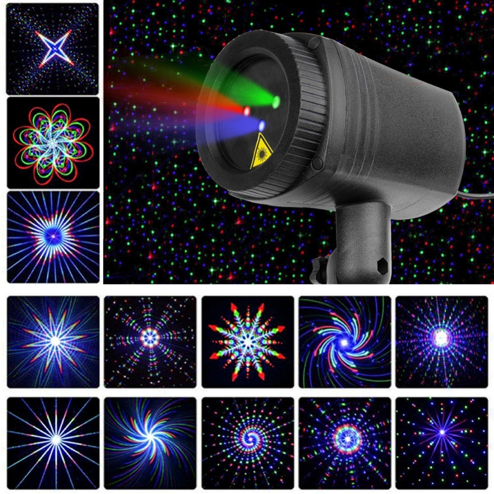Christmas Stars laser light shower 24 Patterns projector effect Remote moving waterproof Outdoor Garden Xmas decorative lawn|Stage Lighting Effect| |  - title=