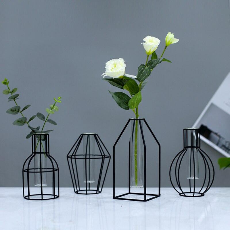 פרח אגרטל לעיצוב בית פשוט מתכת אגרטל סידור פרחי שולחן קישוטי שחור נורדי אגרטל מודרני מינימליסטי