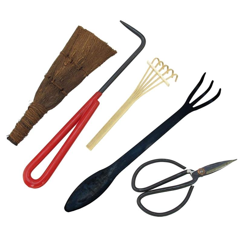 Bonsai Tool Kit 5Pc Basic Care Set Root Rake, Shear, Root Pick, Moss Brush, Stiff Bamboo Brush With Bag