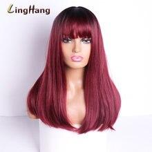 Linghang длинный прямой парик синтетические волосы с челкой