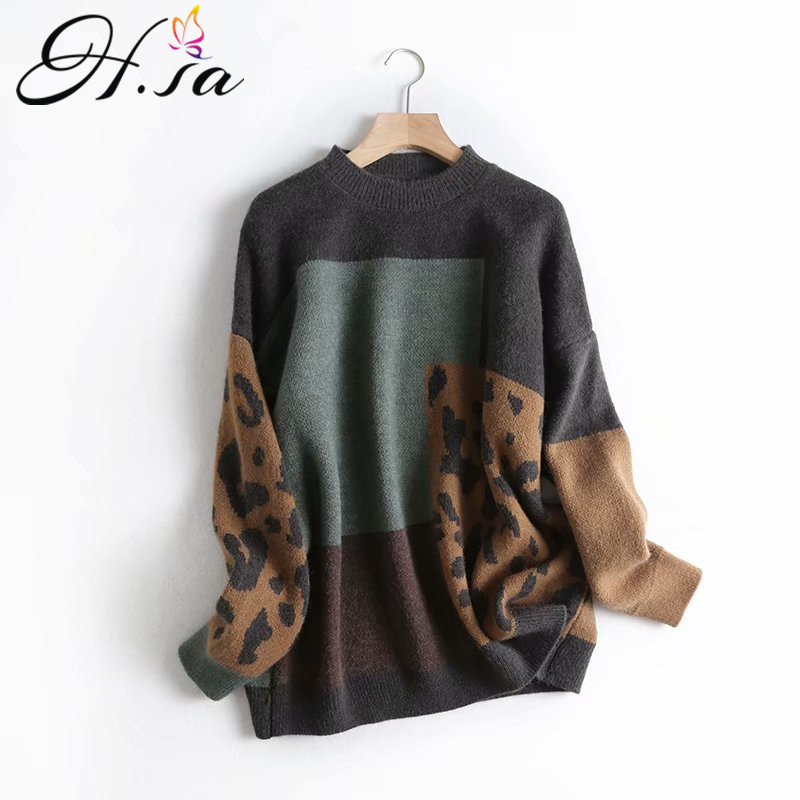 H.SA 2020 Spring Women Vintage Leopard Pullover and Sweaters Patchwork Brown Knit Jumpers Loose Styler Korean Slim Pull Jumpers