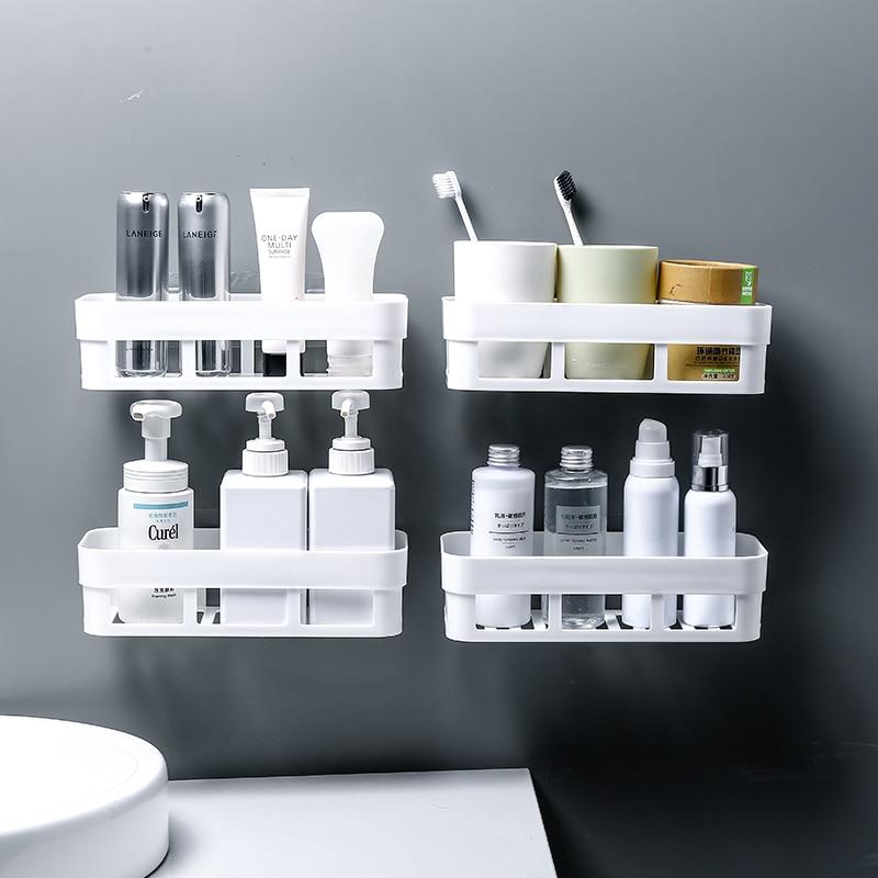 Bathroom Storage Shelf & Rack Waterproof Floating Shelf Home Decoration Kitchen Accessories Free Punching Wall Hanging H1148