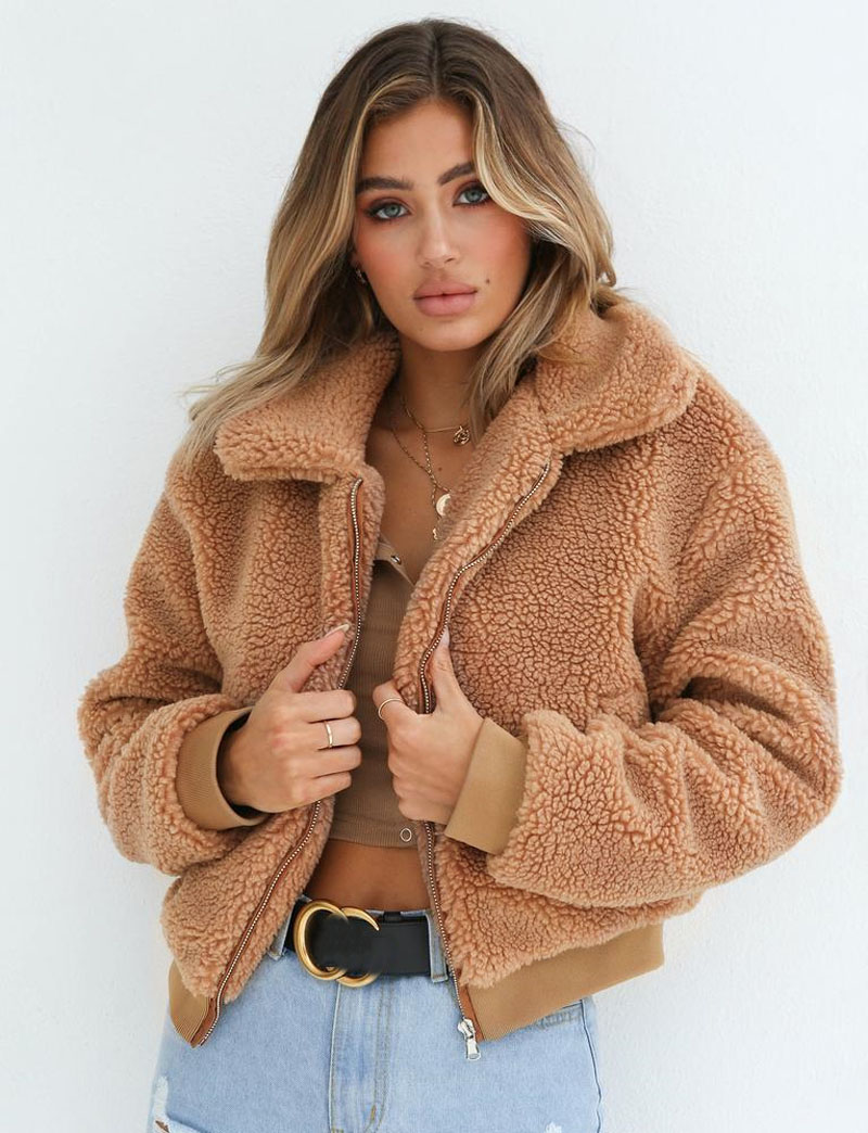 Ha919bd7299f041fa98007814897c9f48q Fashion New Zip Up Punk Oversize Outwear Coats With Pockets Winter Women Warm Teddy Bear Long Sleeve Fleece Jackets Crop Tops