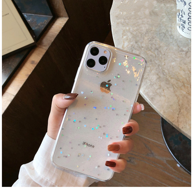 GIMFUN Star Bling Glitter Phone Case for Iphone 11 Pro Max Clear Back Love Heart tpu Case Cover for Iphone Xr X 7 6 8 Plus 5s SE(China)