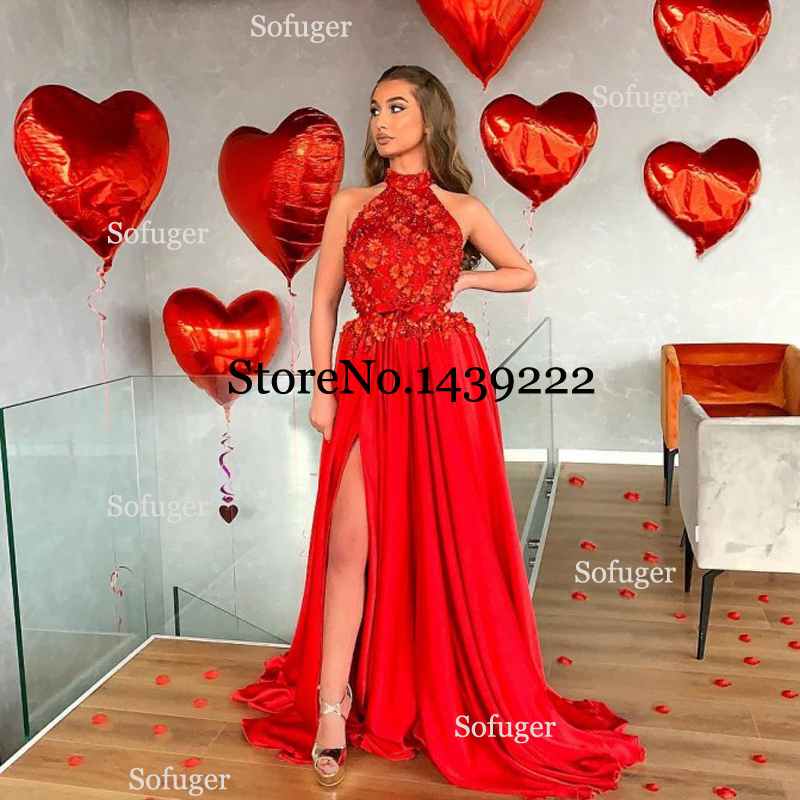 Red Chiffon Sexy Halter Evening Dresses Prom Sexy Slit Women Saudi Arabic Special Occasion Evening Formal Party Dresses
