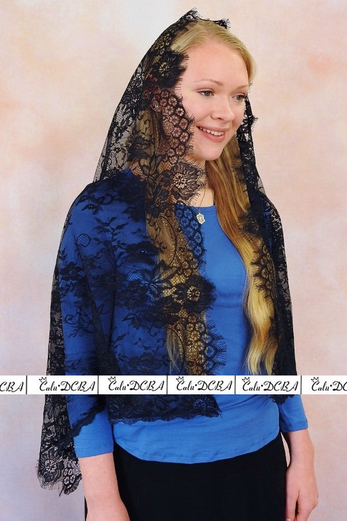 2020 Black Catholic Veils Jerusalem Muslim Women's Elegant Ladies Lace Shawl Scarf Mantillas Veil Church Bridal Cape