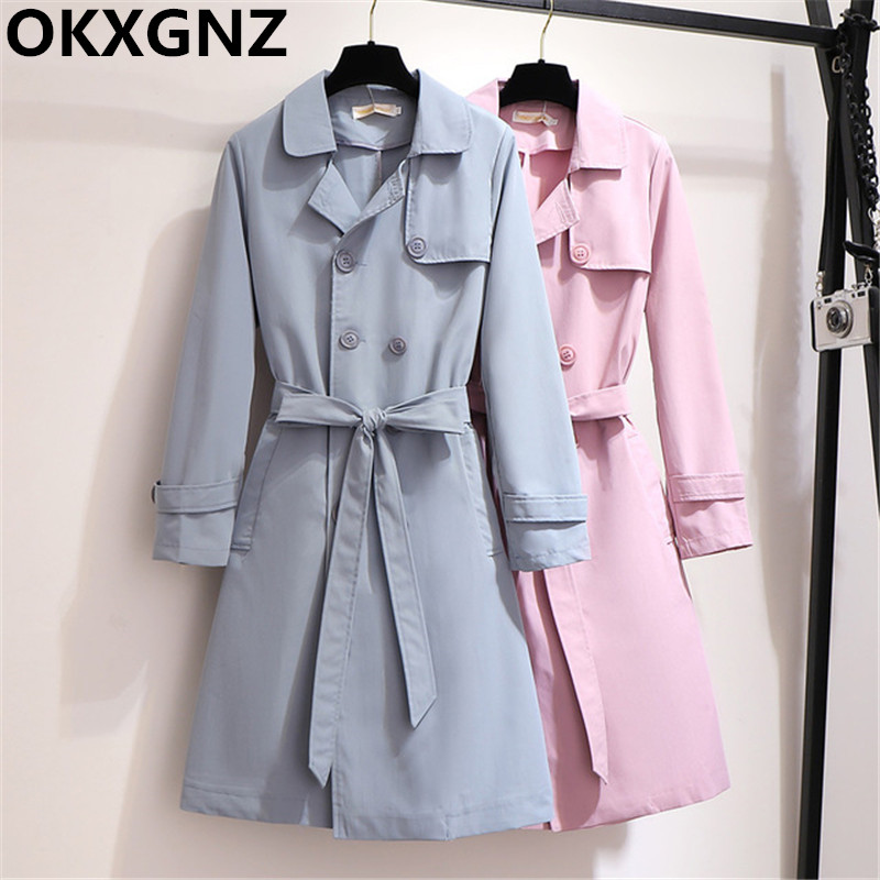 2019 Autumn Women   Trench   Coats Fashion Double-breasted Elegant Windbreaker With Belt Female Outerwear Large Size 5XL 6XL M314