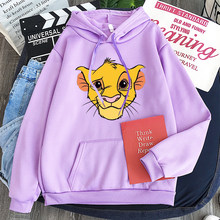 Grote Grafische King Simba Hoodies Vrouwen Harajuku Truien Mooie Casual Tops O-hals Angel Print Hooded Sweatshirt Lange Top(China)