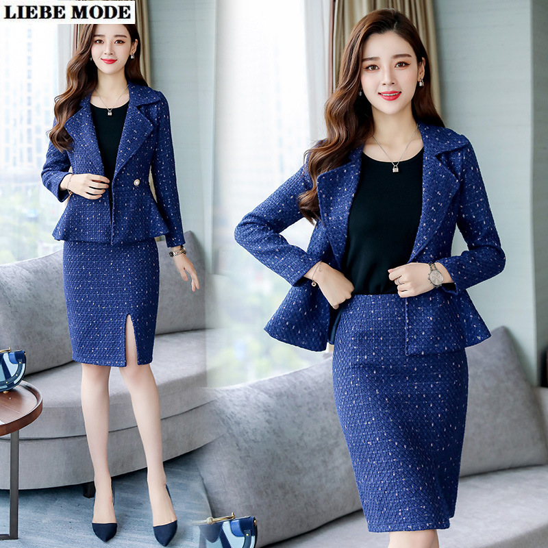 Womens Tweed Jacket and Skirt Set Office Uniforms Blazer Two Piece Sets British Style Women Formal Knee Length Skirt Suits
