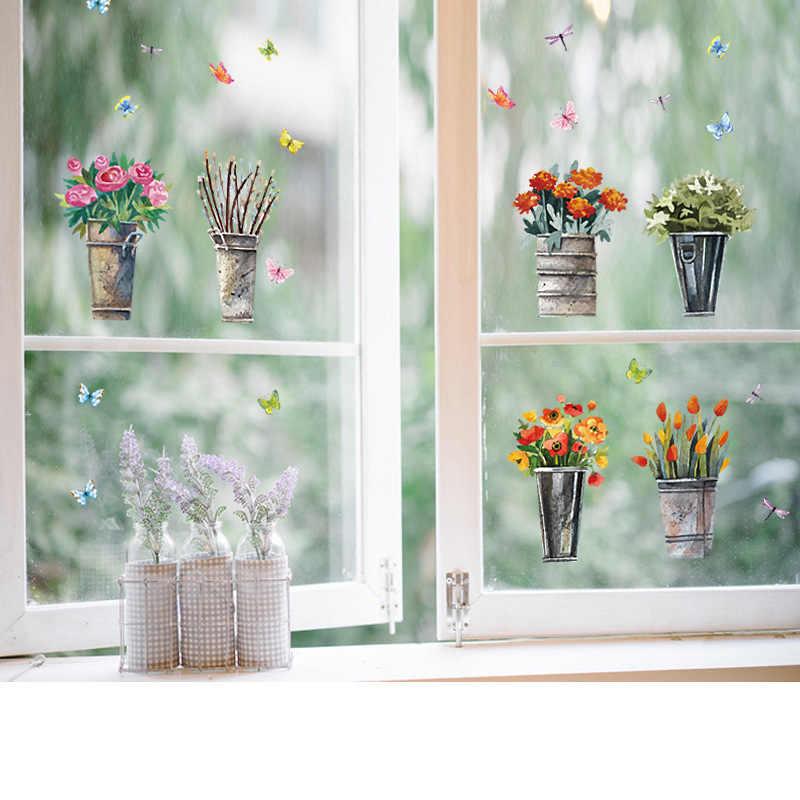 DIY Pot Bunga Kupu-kupu Stiker Dinding Jendela Dapur Kamar Mandi Kaca Stiker Tahan Air Stiker Dinding Lorong Dekorasi Rumah