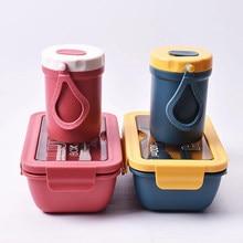 Nieuwe Magnetron Lunchbox Met Compartimenten Draagbare Bento Box Japanse Stijl Lekvrij Voedsel Container Voor Kinderen Met Servies