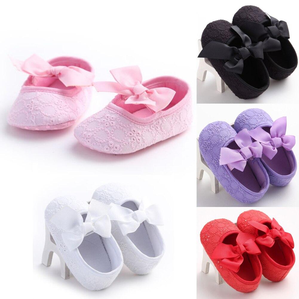0-18M Baby Girls Soft Sole Bow Crib Shoes Newborn Kids Casual Anti-slip Sneaker Pre-walker