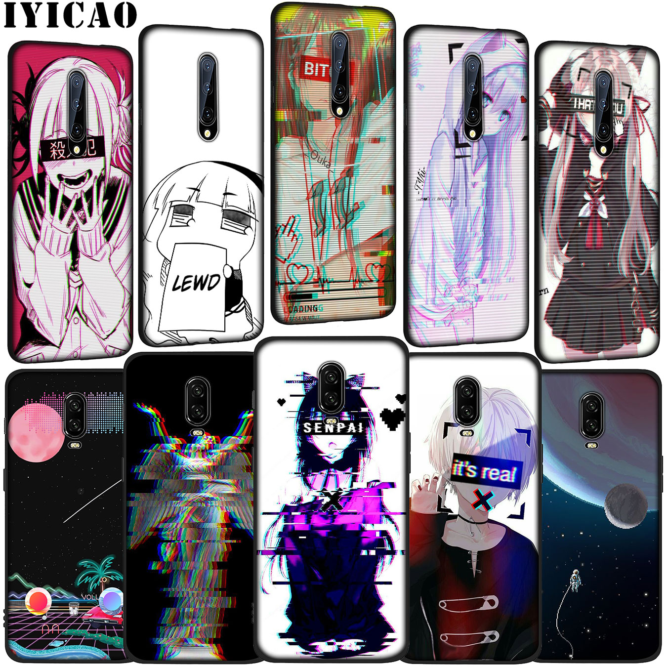 IYICAO Vaporwave Space <font><b>Anime</b></font> Soft Silicone TPU Black Phone <font><b>Case</b></font> for <font><b>OnePlus</b></font> 7 Pro 6T <font><b>6</b></font> 5T 5 One Plus 7Pro Cover image