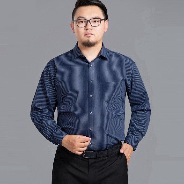 MFERLIER-autumn-men-plus-size-big-shirts-striped-long-sleeve-8XL-9XL-10XL-12XL-man-Dress