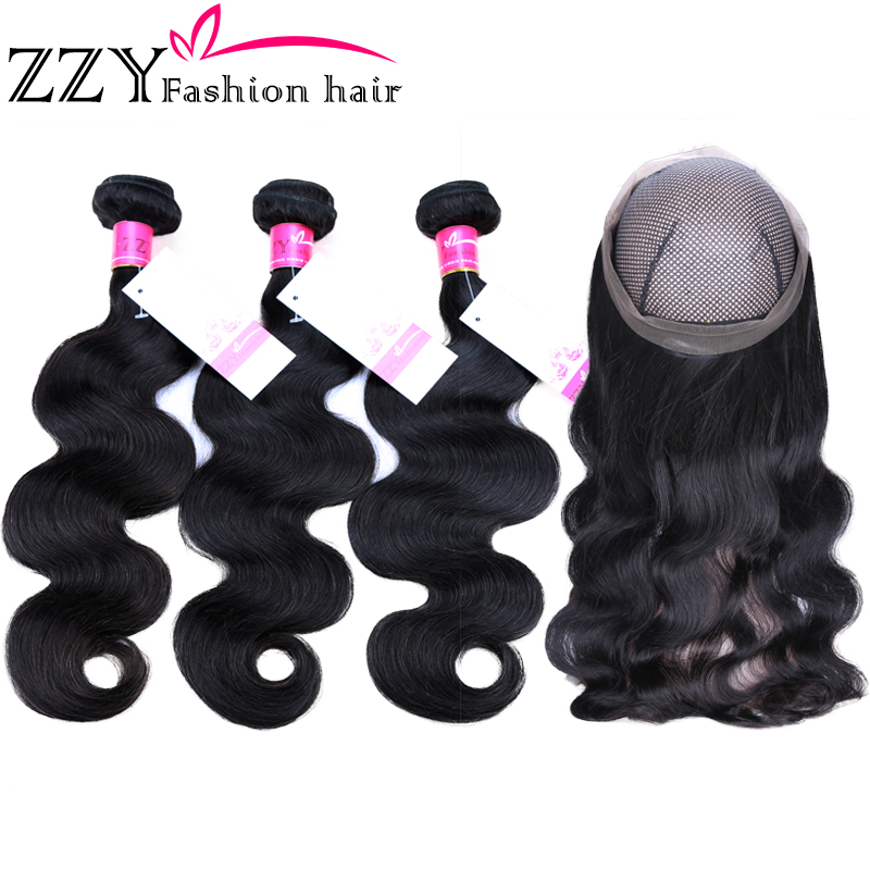 ZZY Fashion Hair Peruvian Body Wave Bundles With 360 Lace Frontal Non -remy Body Wave Bundles With Frontal Closure Pre-plucked