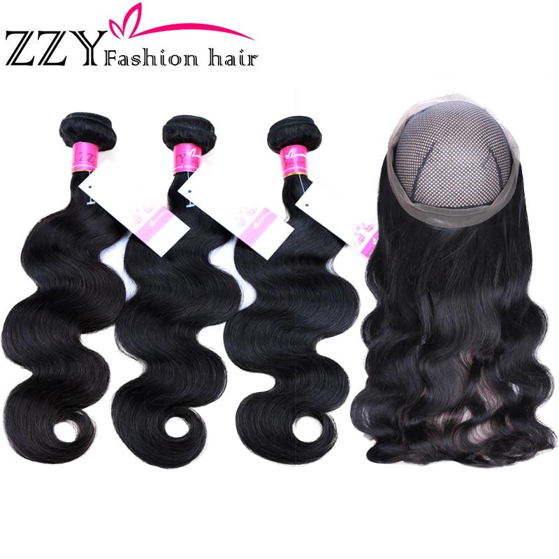 ZZY Fashion Hair Peruvian Body Wave Bundles With 360 Lace Frontal Non -remy Body Wave Bundles With Frontal Closure Pre-plucked