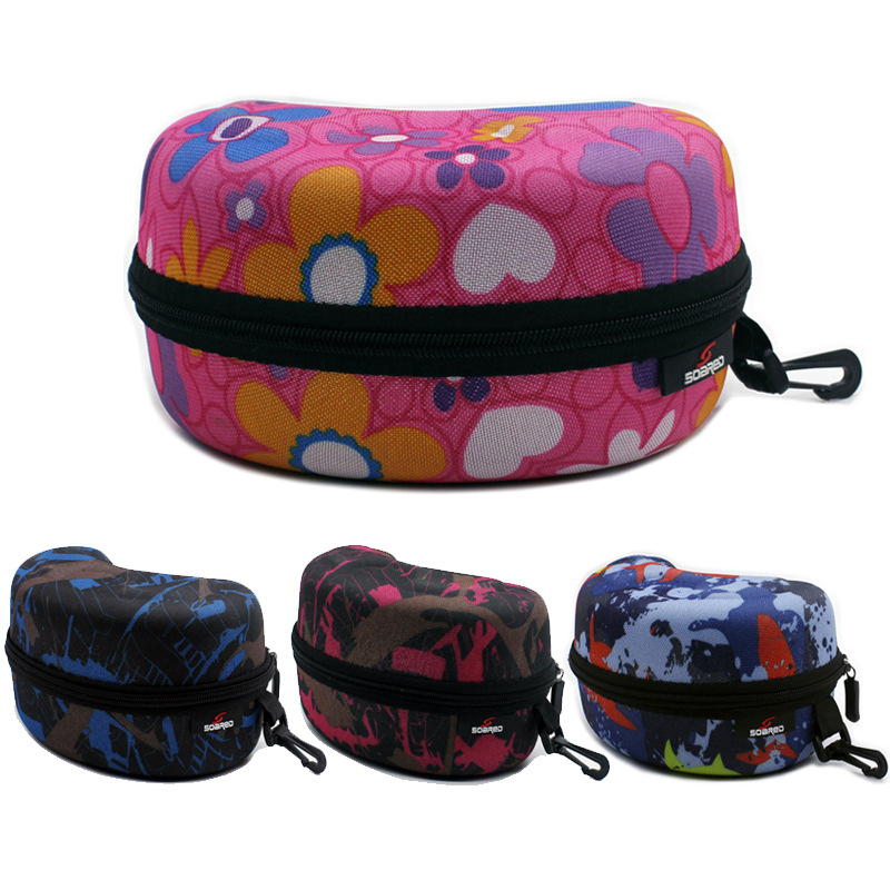 Portable Eyewear Case Adult Child Zipper Water Resistant Spectacle Cases Bag Container Accessories With Hook For Skiing Goggles