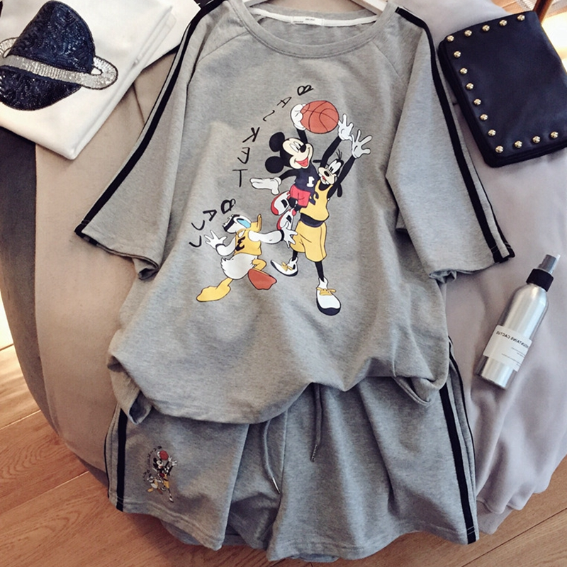 2020 Summer Sets Women Short Sleeve Cartoon Print Tshirt Top And Shorts Casual Sportwear Tracksuit Set 2 Piece Outfits For Woman