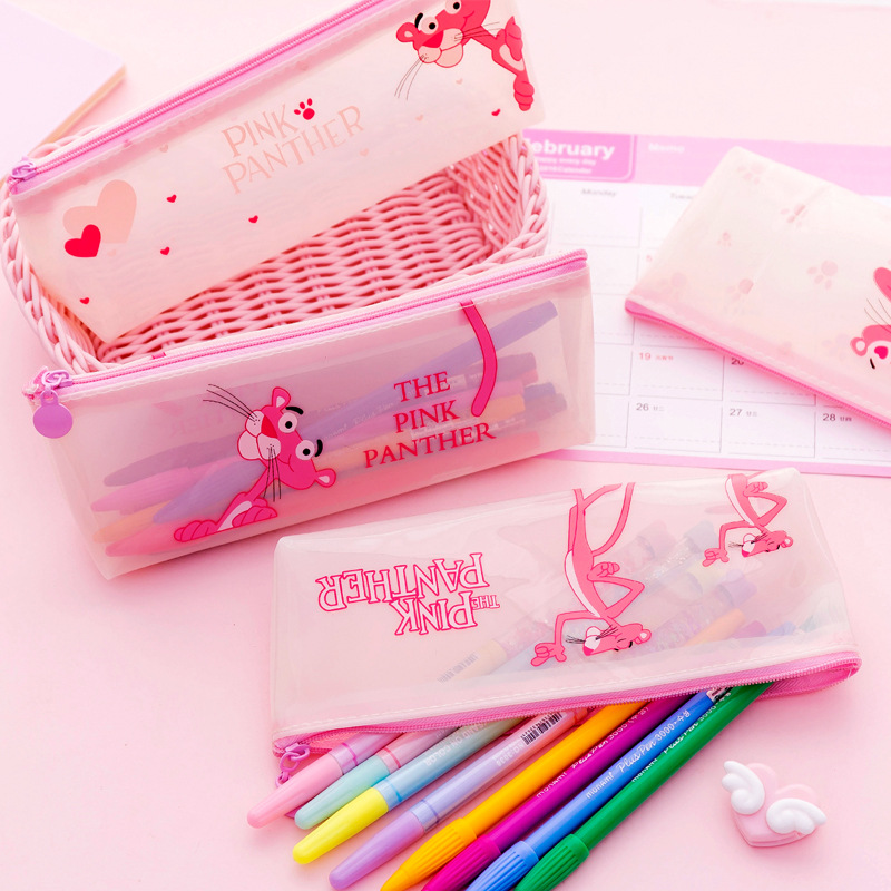 Cute Pink Panther Silicone Pencil Cases Kawaii Transparent Pencil Bag Unicorn Pen Case Korean Stationery Office School Supplies