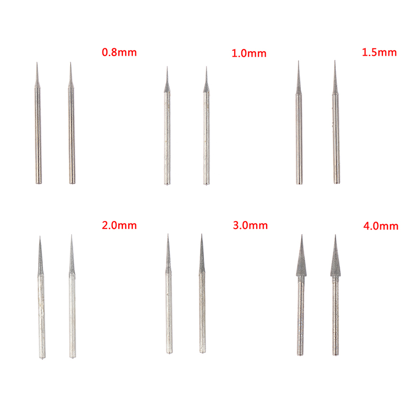 2Pcs/lot 0.8mm-4mm Diamond Grinding Head 2.35mm Shank Grinding Needle Bits Burrs For Metal Stone Jade Engraving Carving Tools