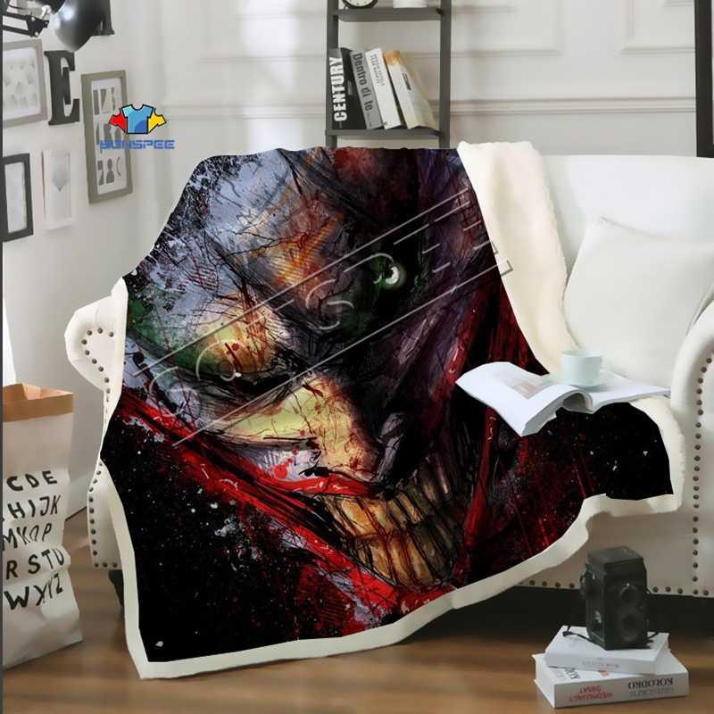Темный рыцарь и клоун, диван для путешествий, молодежное постельное белье, набивное одеяло с рисунком, покрывало для мальчиков и девочек, одеяло для путешествий, диван, одеяло с Бэтменом