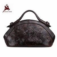 Heart shaped vintage genuine leather Floral Embossing Women Handbags Black Solid Single Shoulder Bag