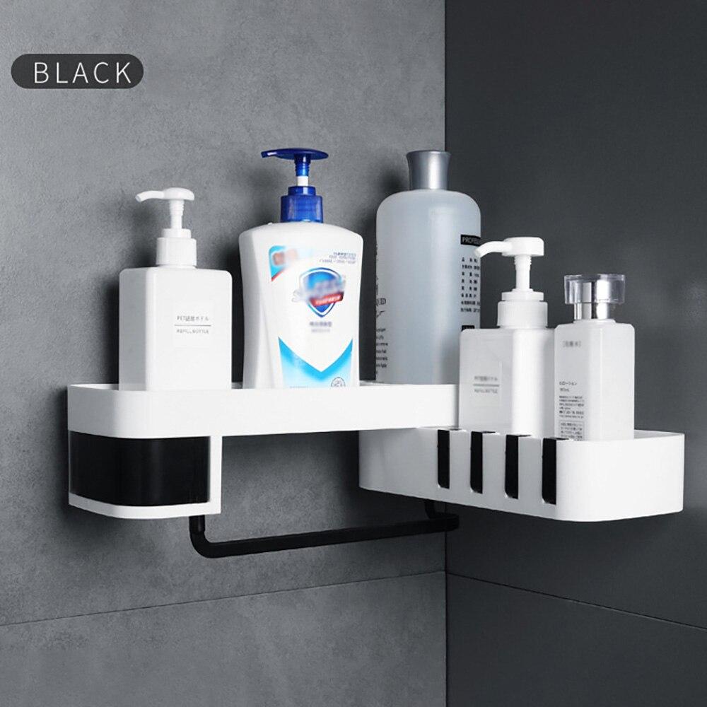 Punch-free Plastic Bathroom Shelf Shower Shampoo Holder Storage Rack Organizer